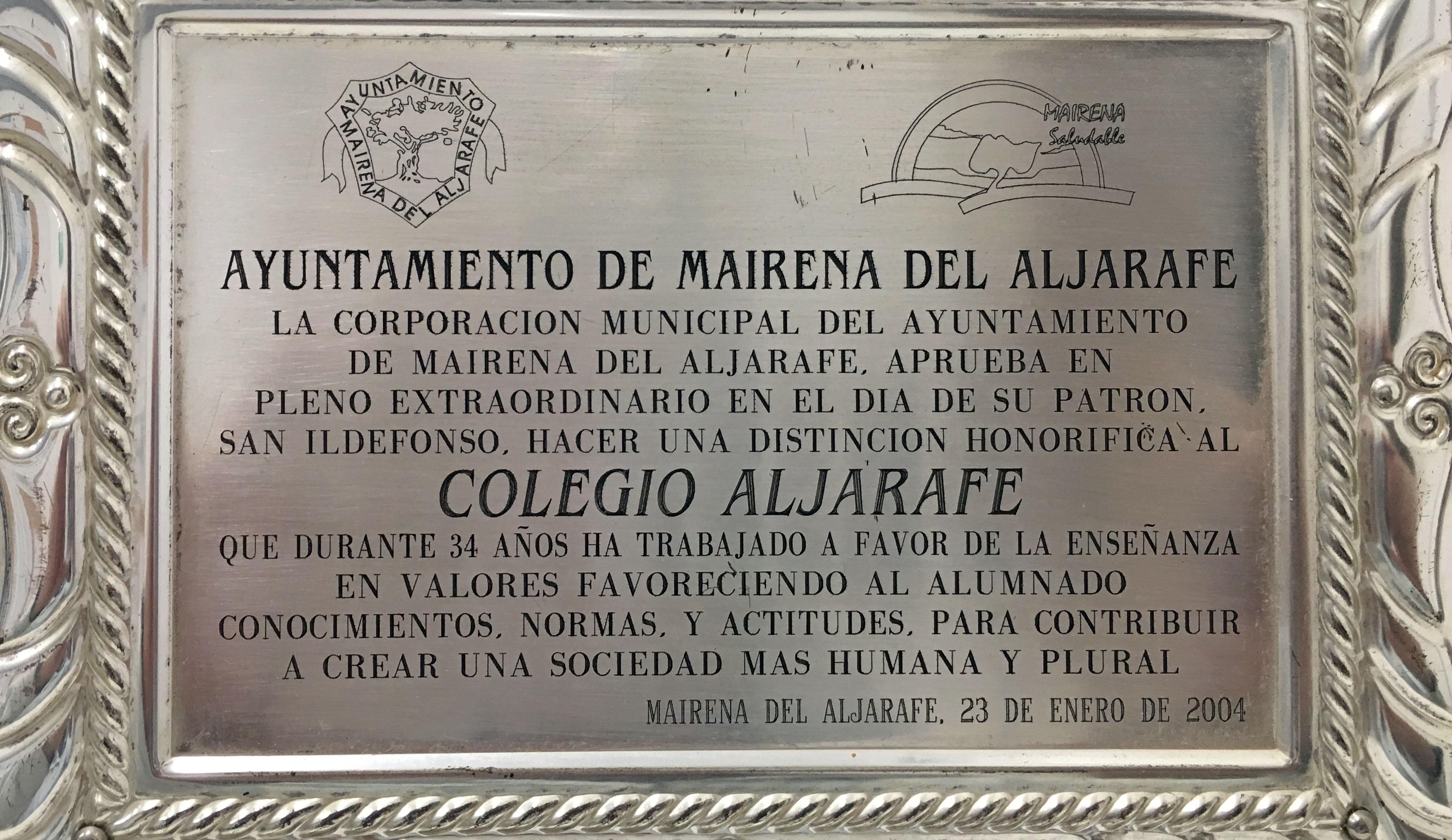placa 25 años colegio aljarafe-rec