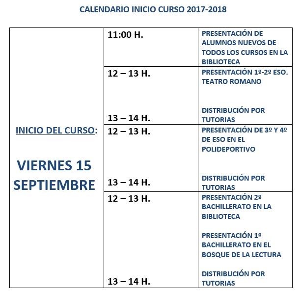 calendario-inicio-curso 17-18