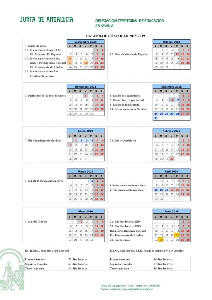 Calendario Escolar 18/19 Colegio Aljarafe