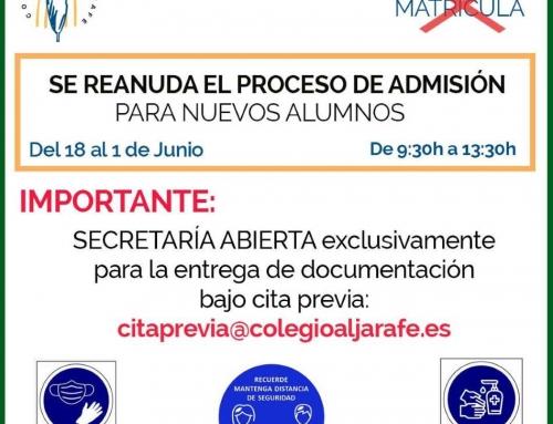 Se reanuda el proceso de admisión para NUEVOS Alumnos