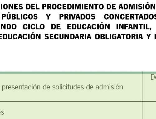 Nuevo calendario del proceso de escolarización tras el paro administrativo producido por el COVID19